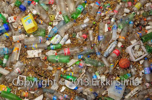 Plastic waste entering the Atlantic via Rio de la Plata (River Plate), Buenos Aires, Argentina.